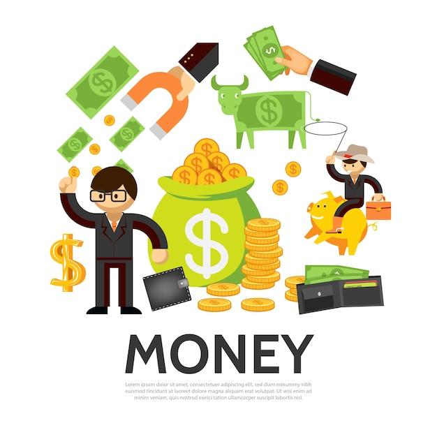 Flaches finanzkonzept mit geschäftsmann-geldbörsengeldkuhsack der goldmünzenhand, die magneten hält Kostenlosen Vektoren