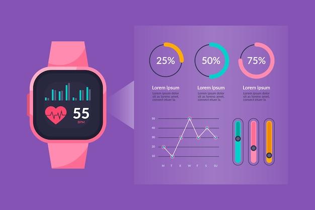 Flaches fitness-tracker-konzept Kostenlosen Vektoren