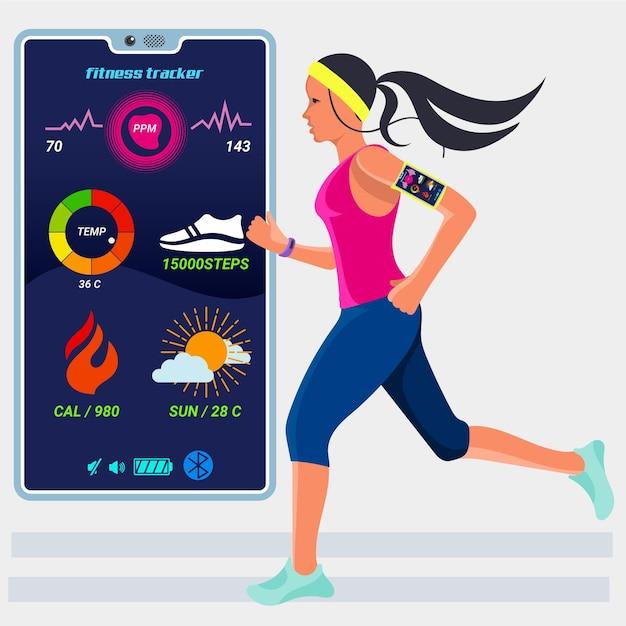 Flaches fitness-tracker-konzept Premium Vektoren