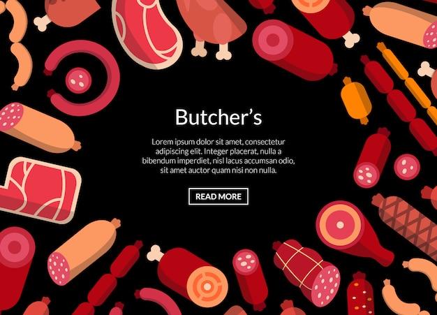 Flaches fleisch- und wurstikonenmuster oder -illustration Premium Vektoren