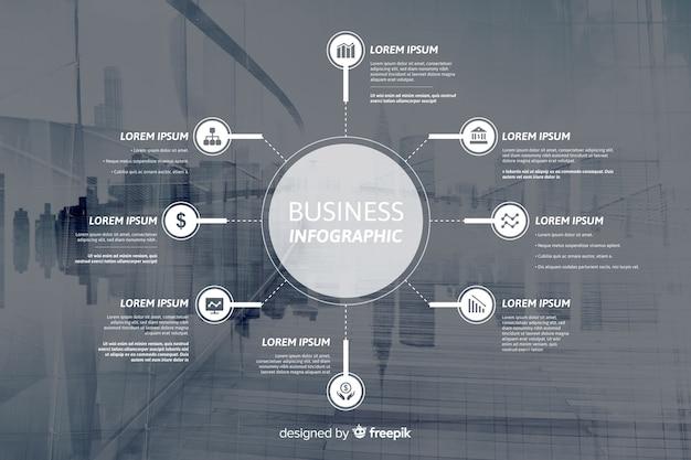 Flaches geschäft infographic mit foto Kostenlosen Vektoren