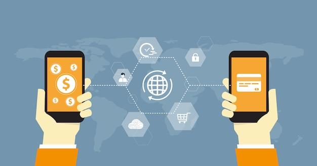 Flaches geschäft online-zahlung und geldtransfer-konzept Premium Vektoren
