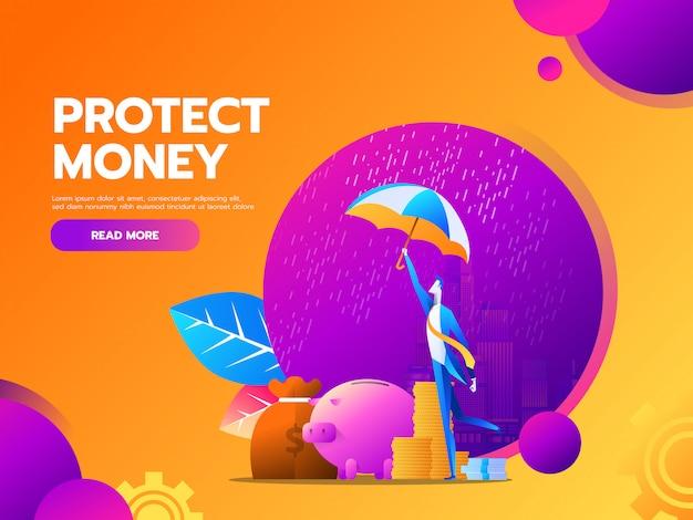 Flaches geschäftsfinanz- und -geldschutzkonzept mit geschäftsmann-griffregenschirm. Premium Vektoren