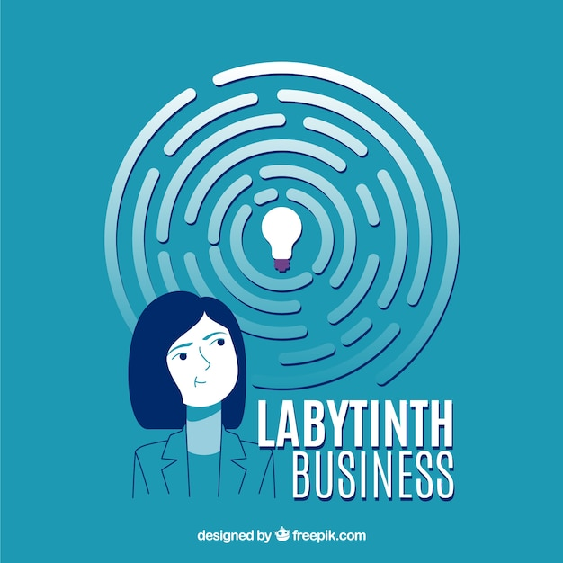 Flaches geschäftskonzept mit labyrinth Kostenlosen Vektoren