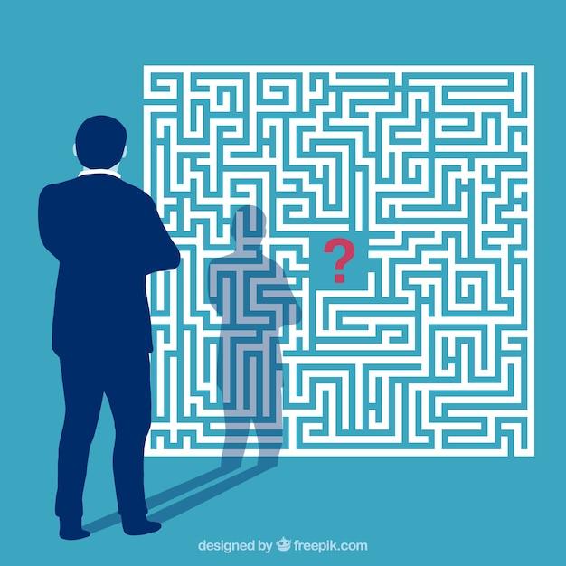 Flaches geschäftskonzept mit labyrinth Premium Vektoren