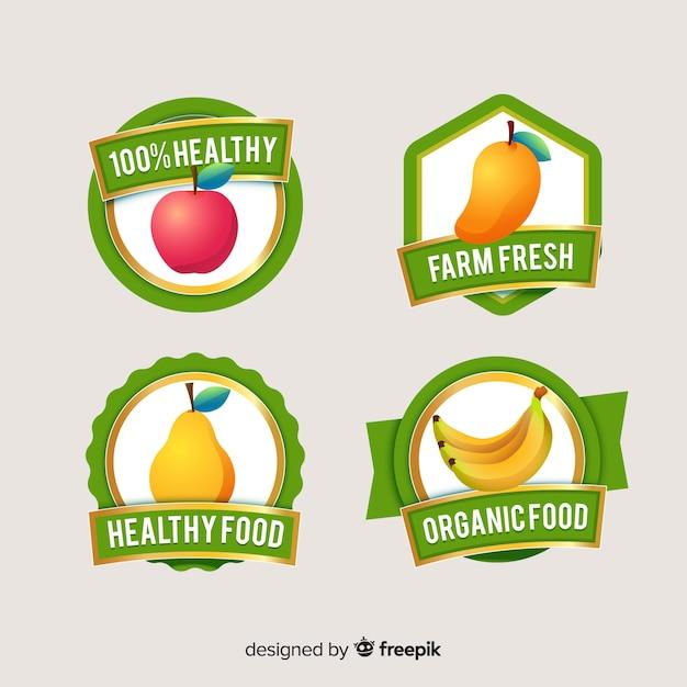 Flaches gesundes nahrungsmittellogosatz Kostenlosen Vektoren