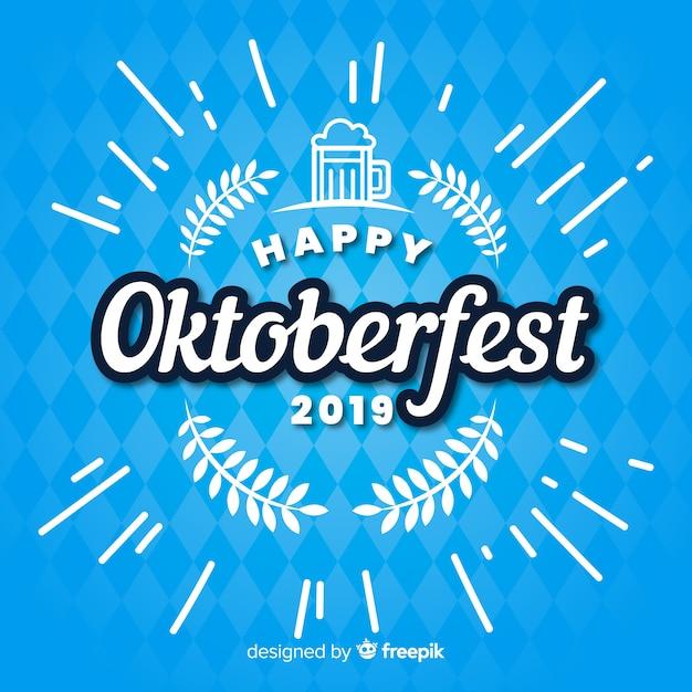 Flaches glückliches oktoberfest 2019 auf blauen schatten Kostenlosen Vektoren