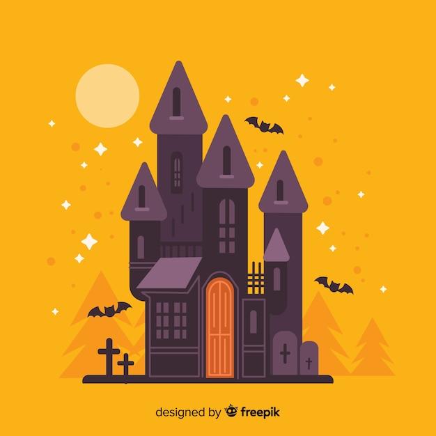 Flaches halloween-haus auf orange hintergrundfarben Kostenlosen Vektoren