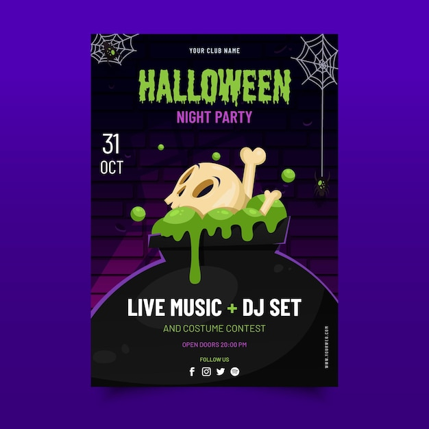 Flaches halloween-partyplakat Kostenlosen Vektoren