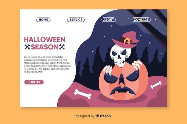 Flaches halloween-skelett in der kürbislandungsseite Kostenlosen Vektoren