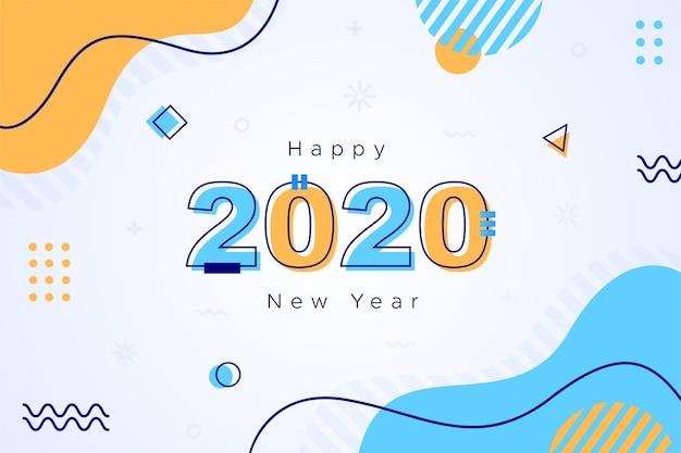 Flaches hintergrundkonzept des neuen jahres 2020 des designs Premium Vektoren
