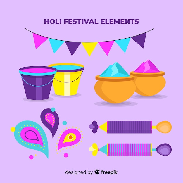 Flaches holi festival element pack Kostenlosen Vektoren