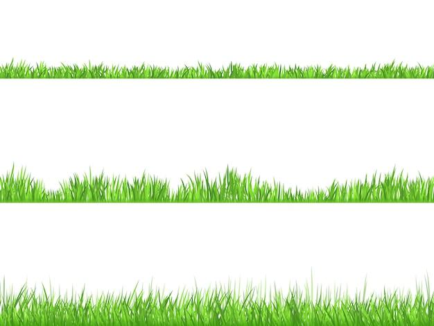Flaches horizontales fahnen-set des grünen grases eingestellt Kostenlosen Vektoren