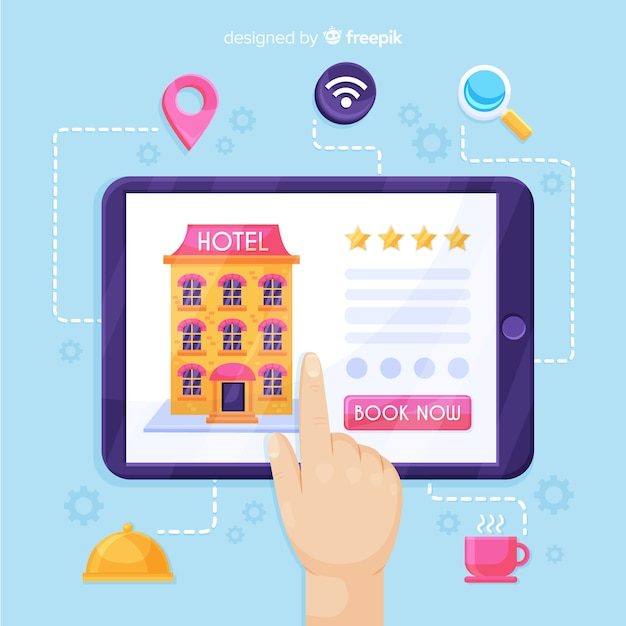 Flaches hotelbuchungskonzept Kostenlosen Vektoren