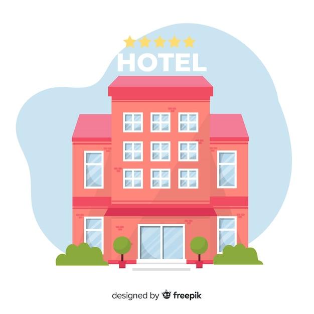Flaches hotelgebäude Kostenlosen Vektoren