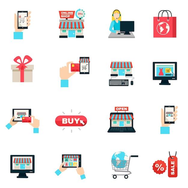 Flaches ikonen-set des internet-einkaufens Kostenlosen Vektoren