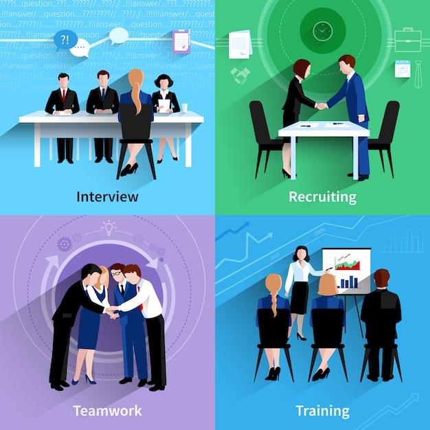 Flaches ikonenquadrat der personalwesen 4 Kostenlosen Vektoren