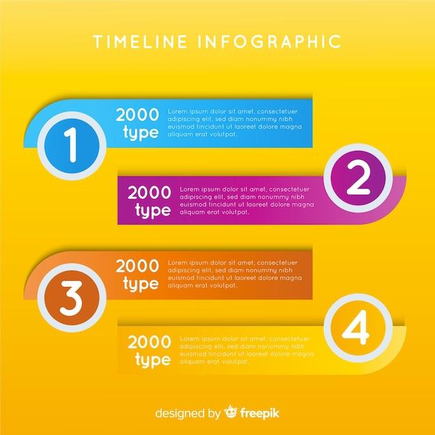 Flaches infographic mit zeitachsehintergrund Kostenlosen Vektoren