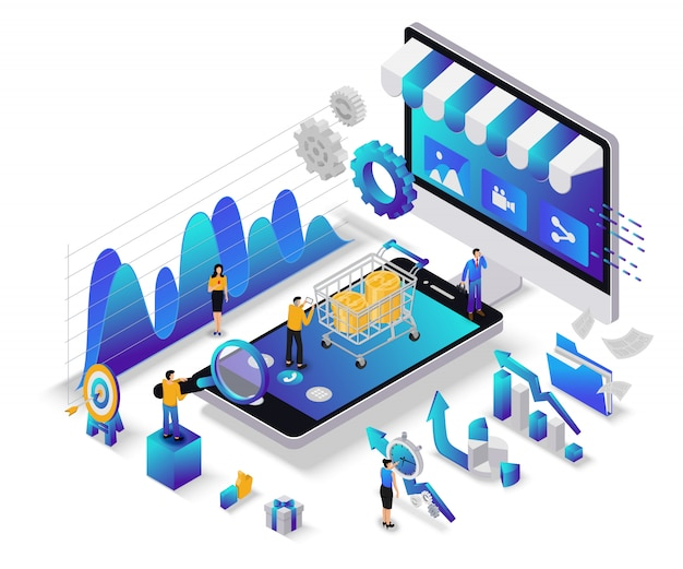 Flaches isometrisches digitales marketingkonzept mit charakter Premium Vektoren