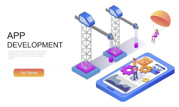 Flaches isometrisches konzept der app-entwicklung Premium Vektoren