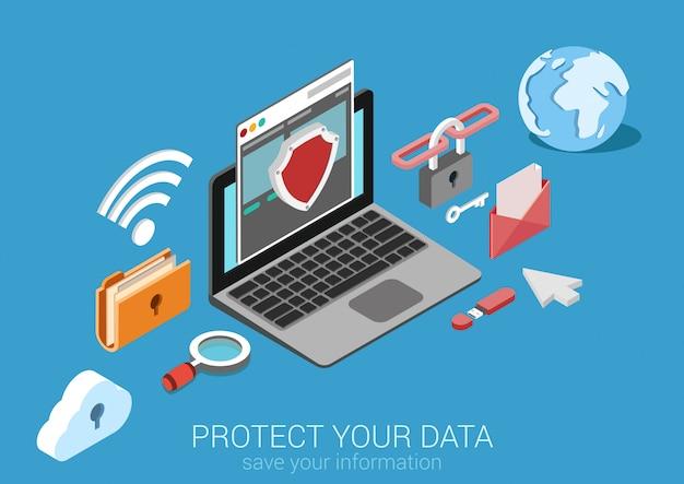Flaches isometrisches konzept der sicheren verbindung des onlinesicherheitsdatenschutzes internet-sicherheit Kostenlosen Vektoren