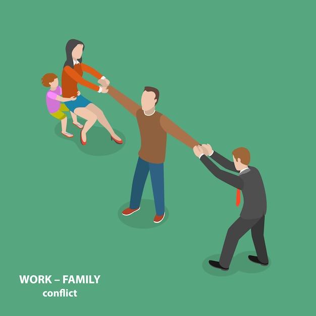 Flaches isometrisches konzept des arbeit-familien-konfliktvektors. Premium Vektoren