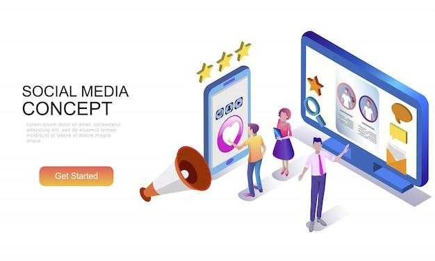 Flaches isometrisches konzept von social media Premium Vektoren