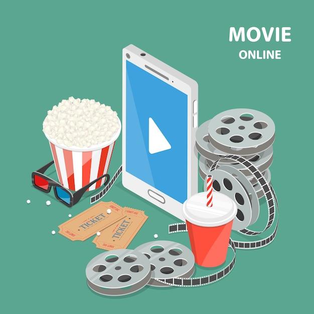 Flaches isometrisches niedriges polyvektorkonzept des on-line-films. Premium Vektoren