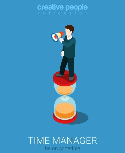 Flaches isometrisches zeitmanagement-manager-konzept Kostenlosen Vektoren