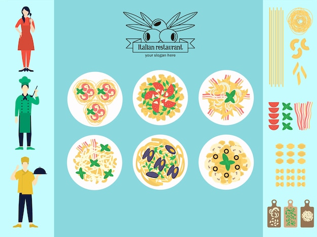 Flaches italienisches restaurant-infografik-konzept Kostenlosen Vektoren