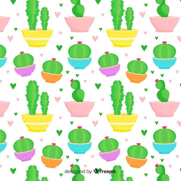 Flaches kaktusmuster Kostenlosen Vektoren