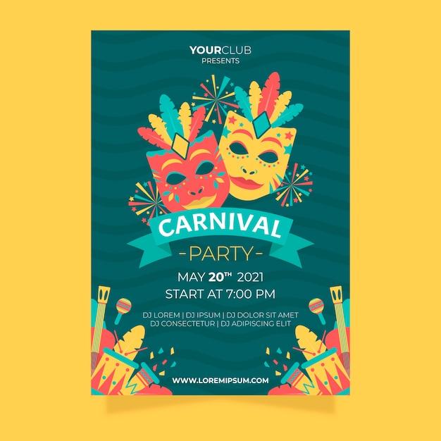Flaches karnevalspartyflieger- und -plakatdesign Kostenlosen Vektoren