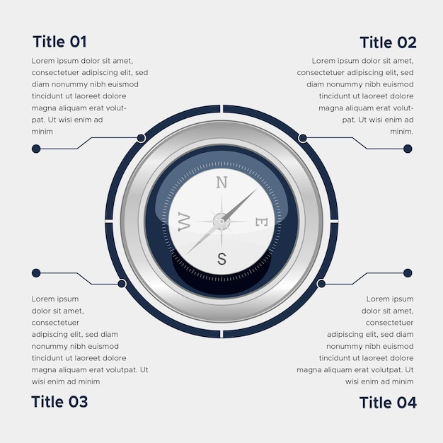 Flaches kompass-infografiken-konzept Kostenlosen Vektoren