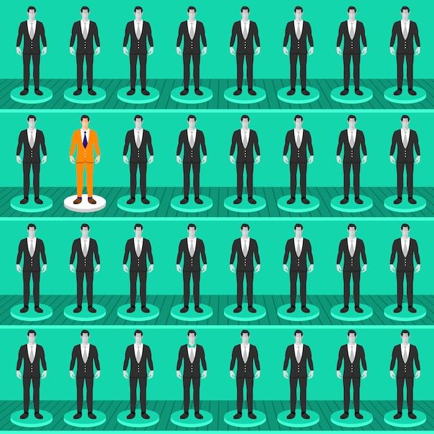 Flaches konzept bringt den richtigen mann auf den richtigen job Premium Vektoren