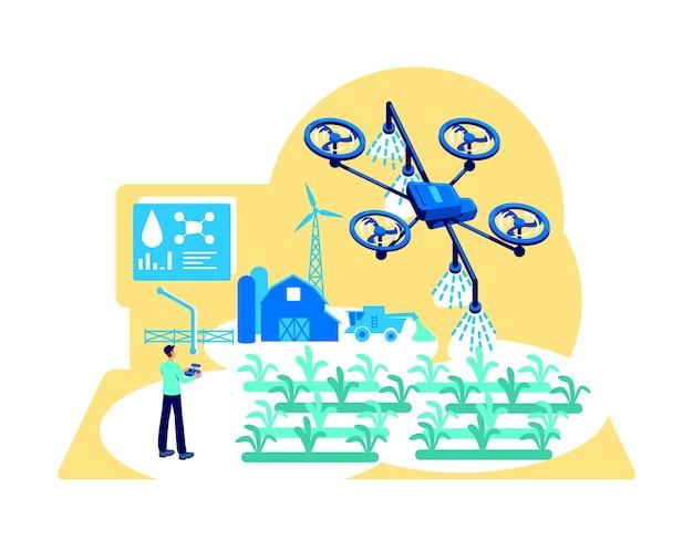 Flaches konzept der agribusiness-automatisierung. drohne zur bewässerung. modernes gewächshaus. landwirt mit gerätesteuerung 2d-zeichentrickfigur für webdesign. kreative idee der digitalen landwirtschaft Premium Vektoren
