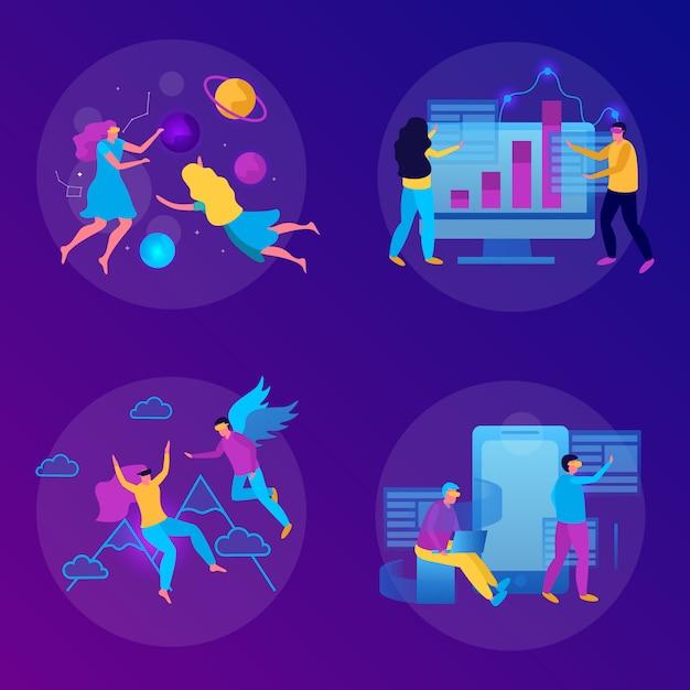 Flaches konzept der virtuellen realität mit einigen leuten, die in der brille der virtuellen realität spielen Kostenlosen Vektoren