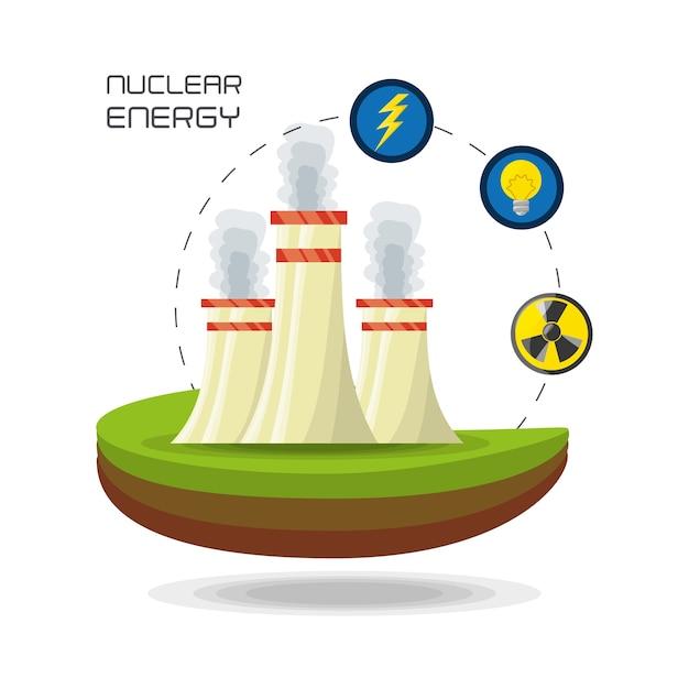 Flaches konzept kernkraftwerk generator energie Premium Vektoren
