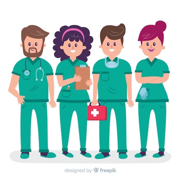 Flaches krankenschwesterteam Kostenlosen Vektoren