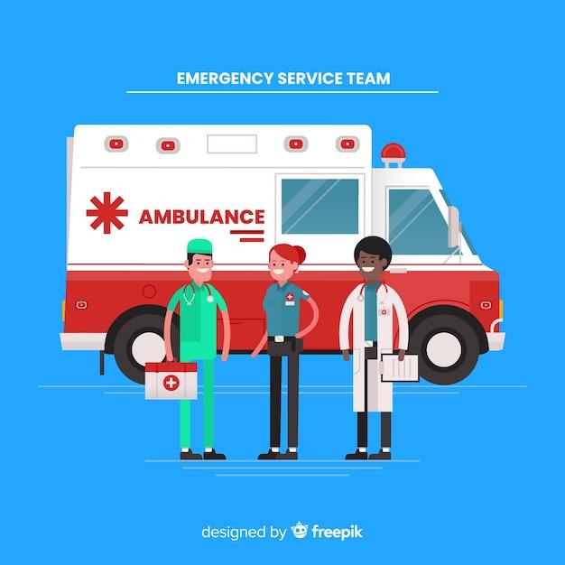 Flaches krankenwagen-team Kostenlosen Vektoren