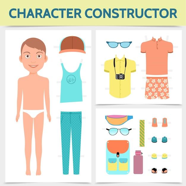 Flaches männliches charakterkonstruktorkonzept mit sommerkleidungsreisetaschenkappen-turnschuhkamera Kostenlosen Vektoren