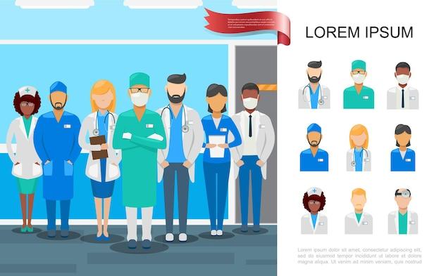 Flaches medizinisches personal bunt mit ärzten und krankenschwestern in verschiedenen berufsuniformenillustration Kostenlosen Vektoren