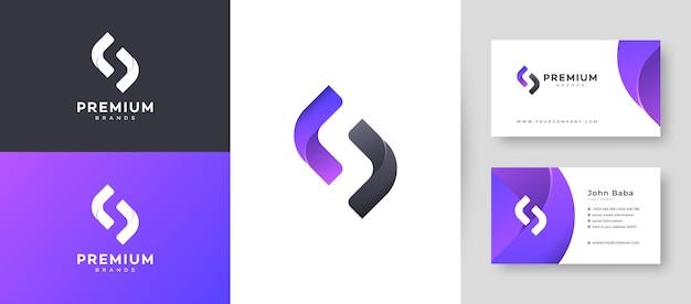 Flaches minimales anfängliches s-buchstaben-logo mit premium-visitenkarten-entwurfsvorlage für ihr firmengeschäft Premium Vektoren