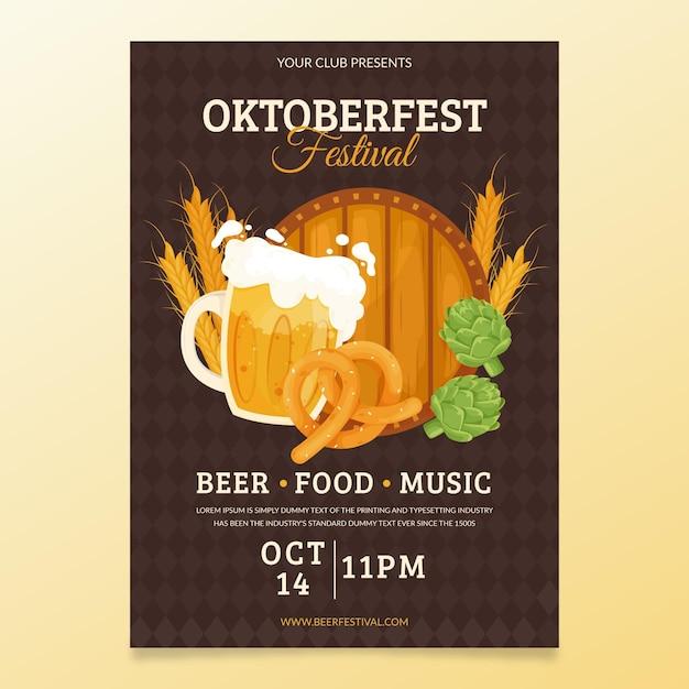 Flaches oktoberfest festivalplakat Kostenlosen Vektoren