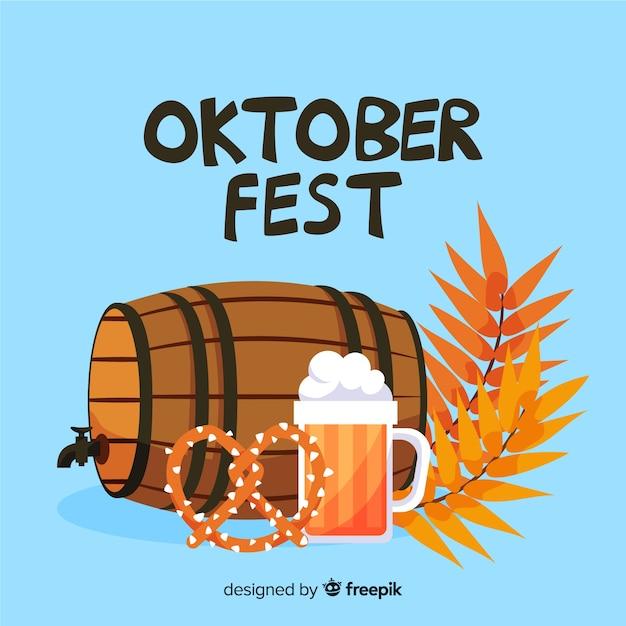 Flaches oktoberfest mit bier vom fass Kostenlosen Vektoren
