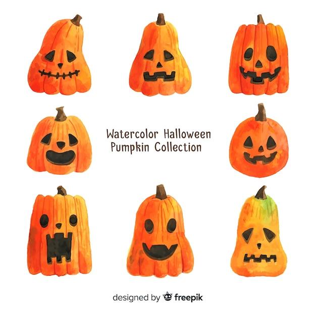 Flaches Paket Halloween Kürbisse | Download der kostenlosen Vektor