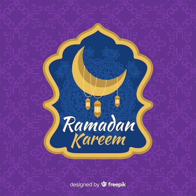 Flaches ramadan-etikett Kostenlosen Vektoren