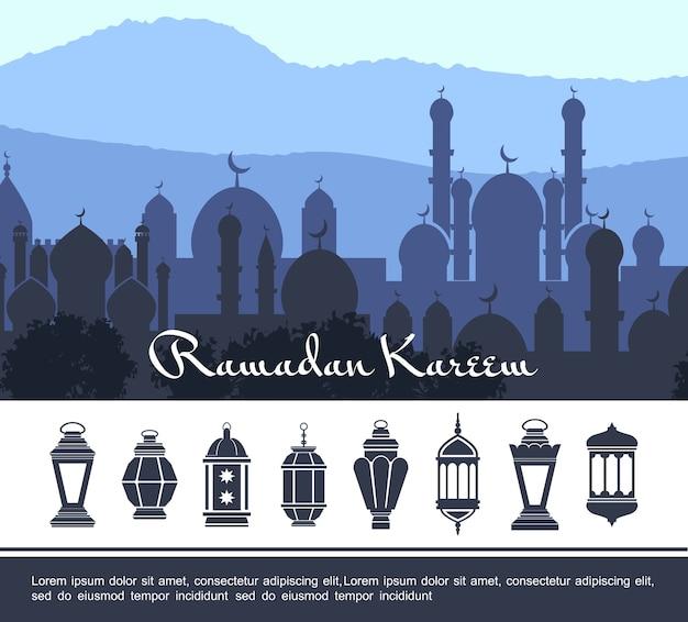 Flaches ramadan kareem konzept Kostenlosen Vektoren