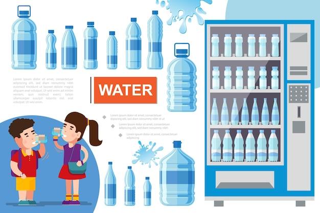 Flaches reinwasserkonzept mit trinkwasserflüssigkeitsspritzern des jungen und des mädchens und schaufensterkühlschrank für das kühlen von getränken Kostenlosen Vektoren