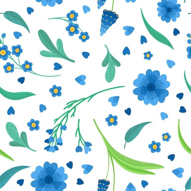 Flaches retro nahtloses muster der blauen blumenblüten. abstrakte wildblumen auf weißem hintergrund. dekorativer hintergrund von gänseblümchen und kornblume. blühende wiesenwildblumen. vintage textil, stoff, w Premium Vektoren