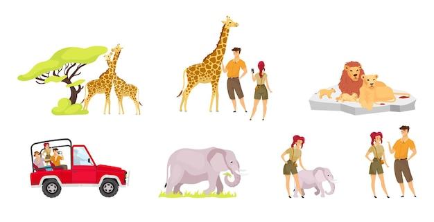 Flaches set der afrikanischen expedition. paar giraffen in der nähe von baum. touristengruppe im auto. Premium Vektoren